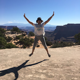 Lady Traveler is jumping for joy in Moab Utah after her recent knee-replacement surgery!