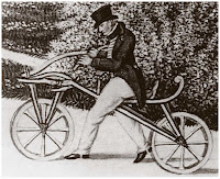 Дрезина, изобретенная в 1817 году  бароном Карлом фон Драйзом (1785 - 1851).
