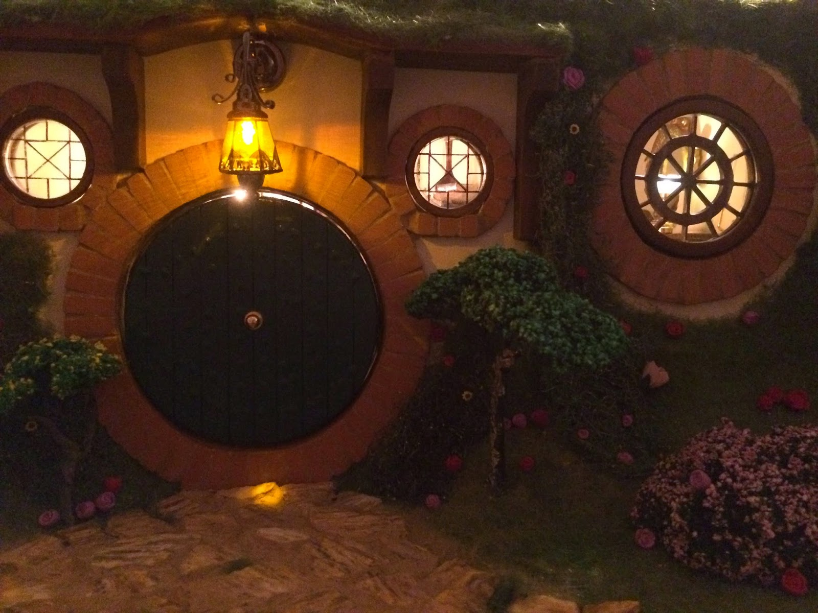 My Hobbit Hole Bag End Front Door at Night