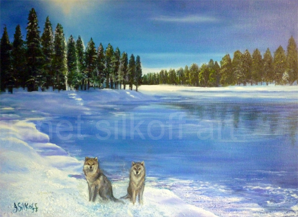 Wolves by Canadian Lake
