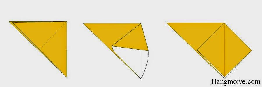 Bước 3: Mở lớp giấy phía trên theo chiều từ trong ra phía ngoài như hình minh họa dưới ta được một hình gồm: tam giác cân ngược và hình tứ giác đều.