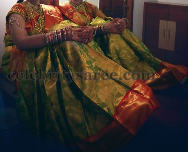 Green Bridal Sari Orange Border