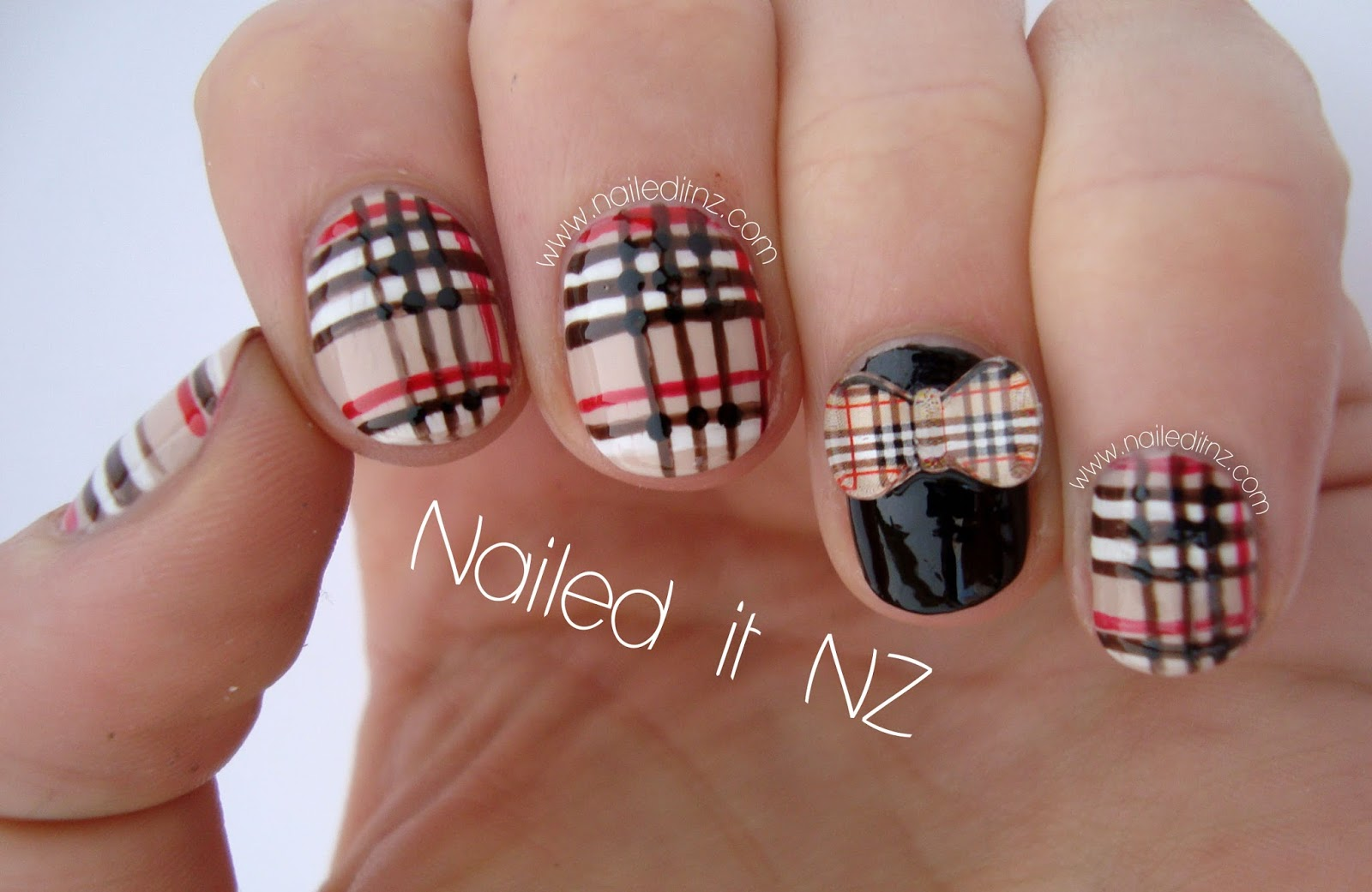 Burburryplaid nail art with 3d bows from kkcenterhk prinsesfo Image collections
