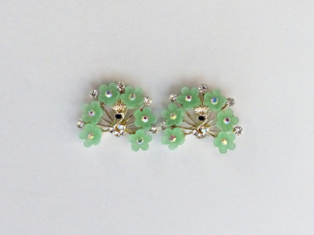 Green stone peacock earrings