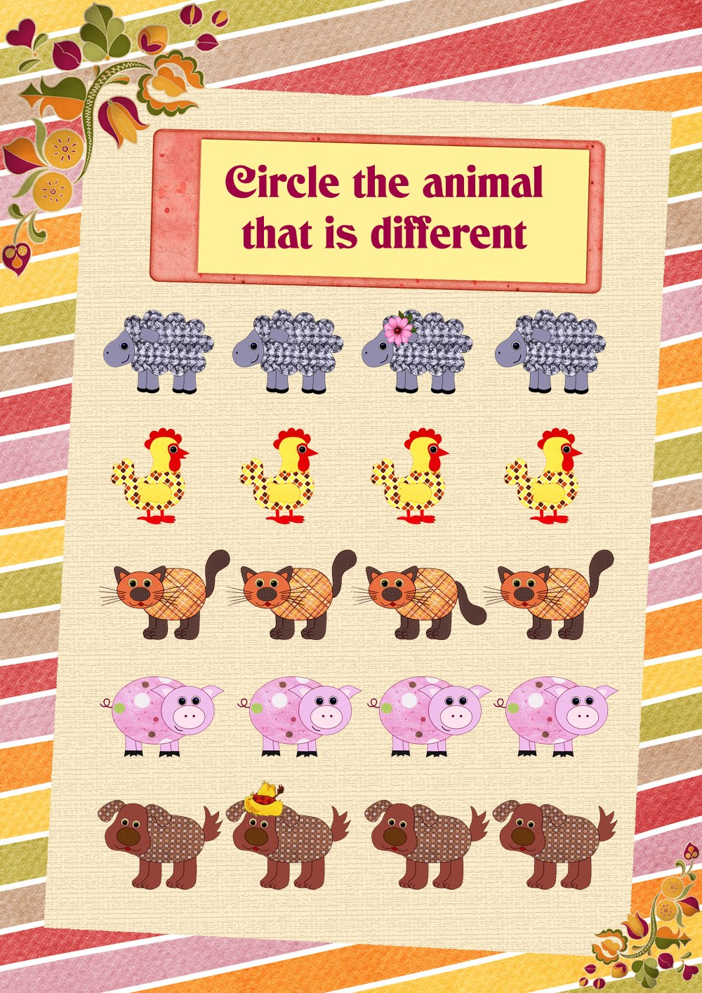farm animals worksheet for English learning