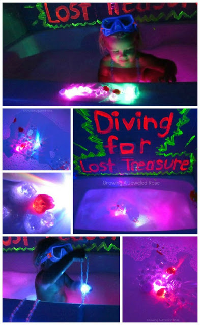 Glowing bath water bath time fun
