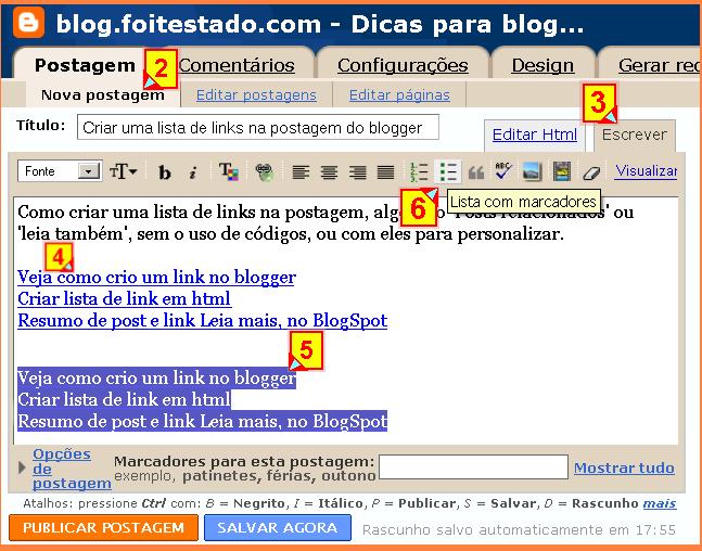 Criar lista de links no blogger
