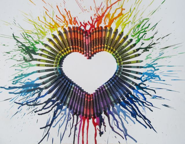 artzy creations melted crayon heart