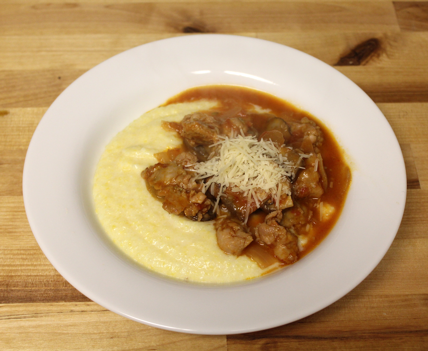 The No Pressure Cooker: Creamy Polenta with Mushroom and Sausage Ragu