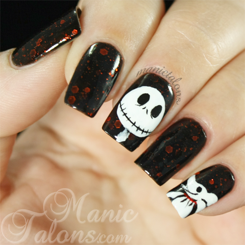 The Nightmare Before Christmas Nailart over KBShimmer Jack