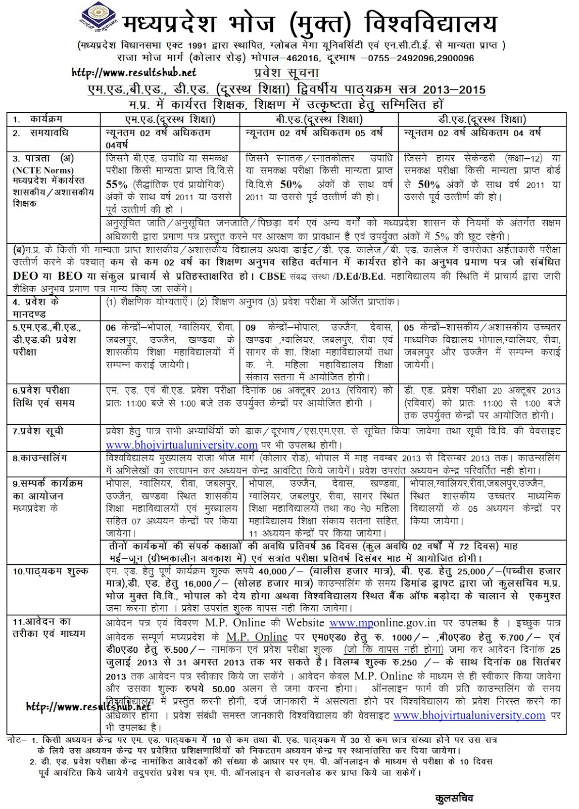 Bhoj University Entrance Examination Details 2013 | Entrance Exam 2013