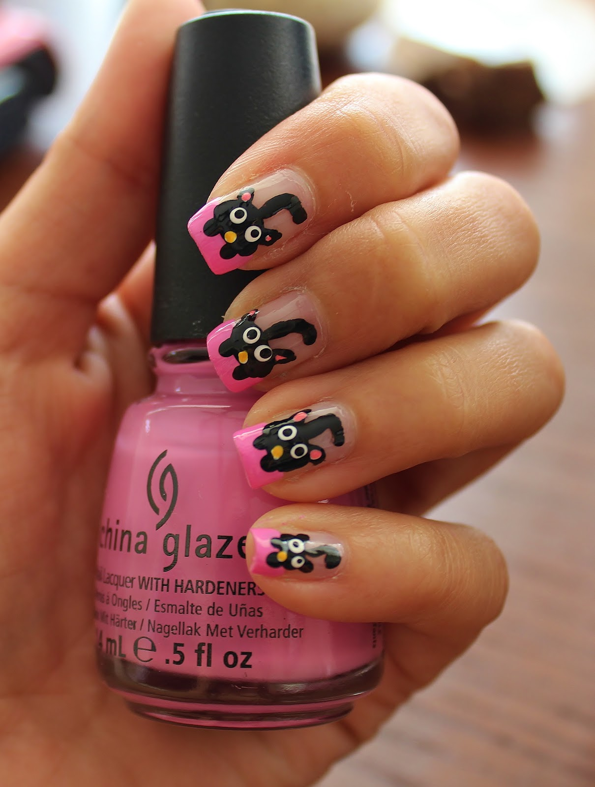 Simple Nail Art for Newbies: Black Cats on Pink French Nails