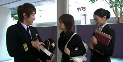 Misaki played by Ueta Aya ( 上戸彩) (うえと あや), confronts Tsutsumi  played by Koiziumi Kotaro ( 小泉孝太郎 ).
