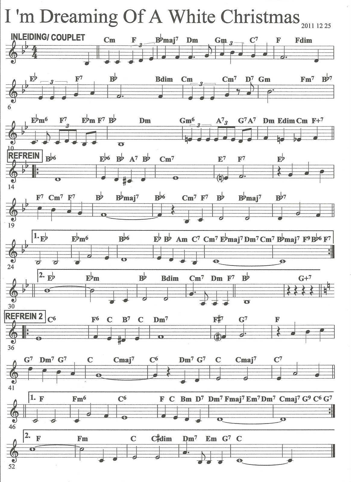 Images of Im Dreaming Of A White Christmas Sheet Music - #SpaceHero