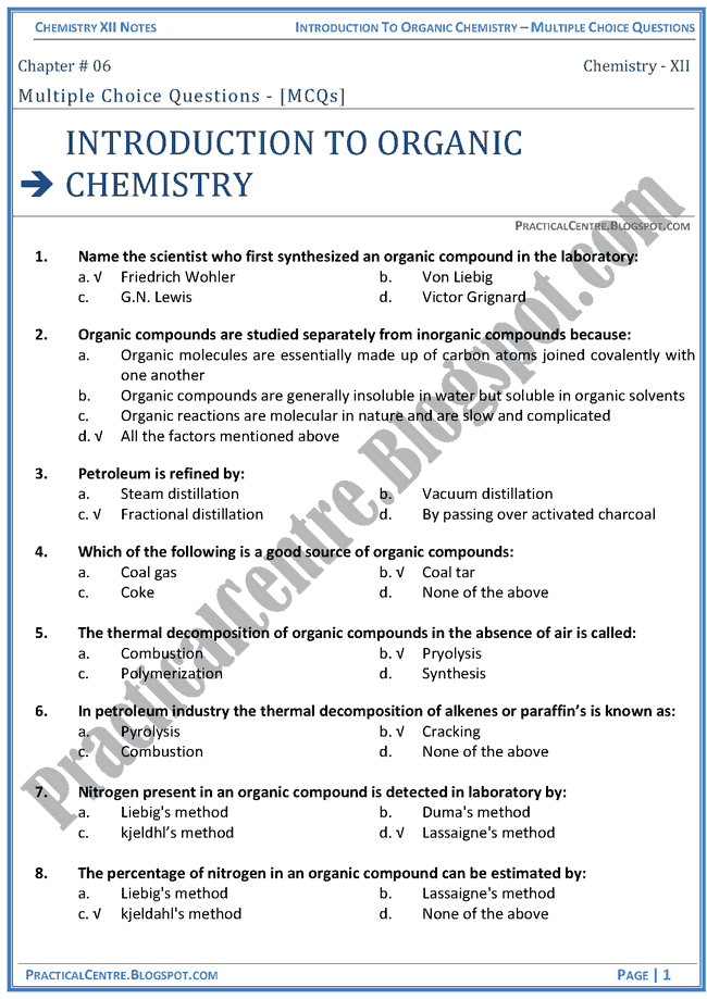 introduction-to-organic-chemistry-mcqs-chemistry-12th