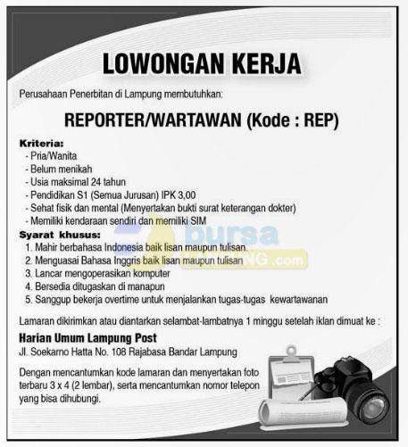 Lowongan Kerja Lampung Post Oktober 2014