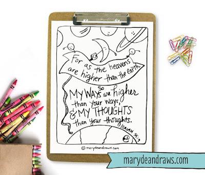 Isaiah 55:9 Printable Scripture Coloring Page Marydean Draws