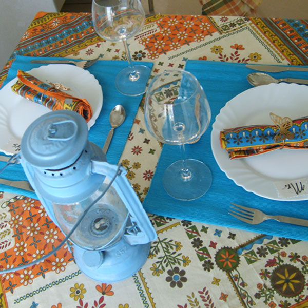 azure tablecloth valentine table for two