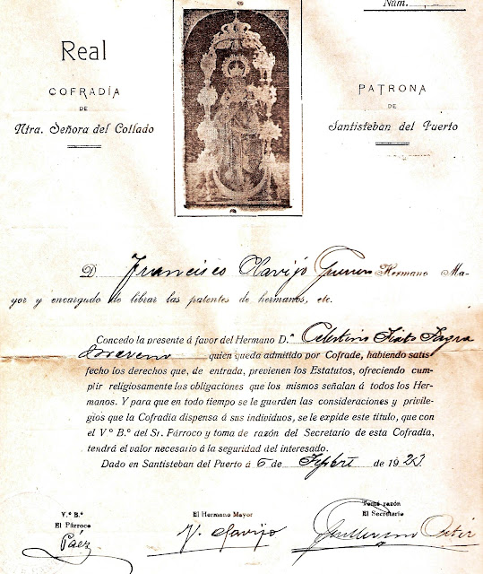Patente de Hermano Cofrade