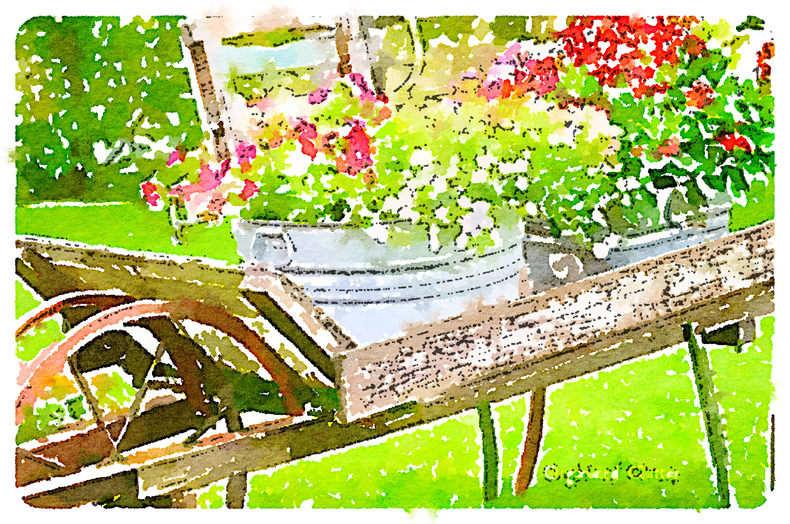 Waterlogue App Garden Wheelbarrow www.organizedclutterqueen.blogspot.com