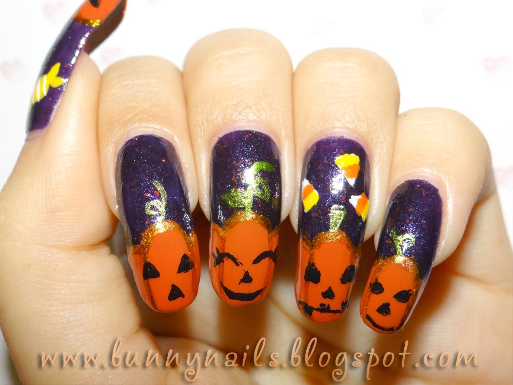 Halloween Pumpkin Nail Art and Tutorial
