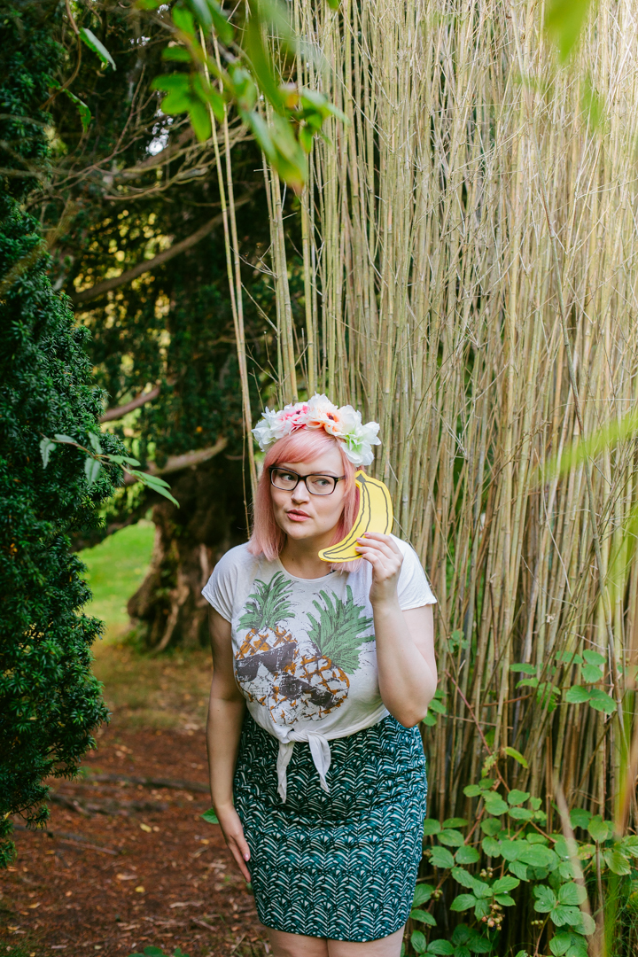 girls with glasses, 2020 opticians, Scottish blogger, peach hair DIY, blogger favourite, bamboo garden, fruit bunting DIY