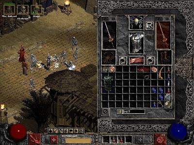 Típica ventana con el inventario en Diablo II