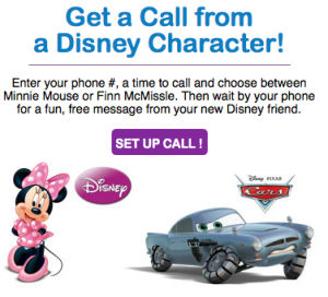 Free Disney Phone Call from Minnie or Finn McMissle