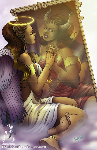 art illustration illumistrations mirror agels demons heaven hell black woman african american black art