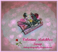 2014 Vintage Dragonfly's Valentine Altered Matchbox Swap