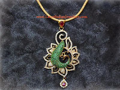 Peacock Bird Diamond Pendant