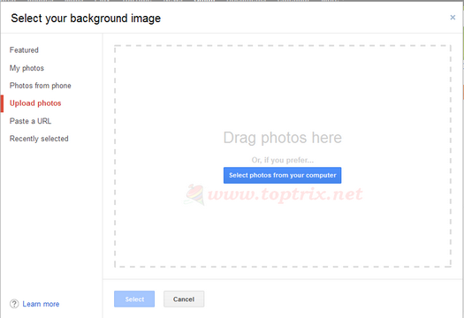 upload local image to gmail theme