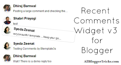 Recent Comments Widget v3 for Blogger