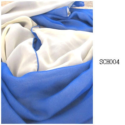 shawl chiffon 2 layer electric blue kuning cair