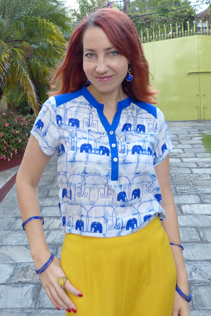 Global Desi blue elephants crop top and yellow skirt