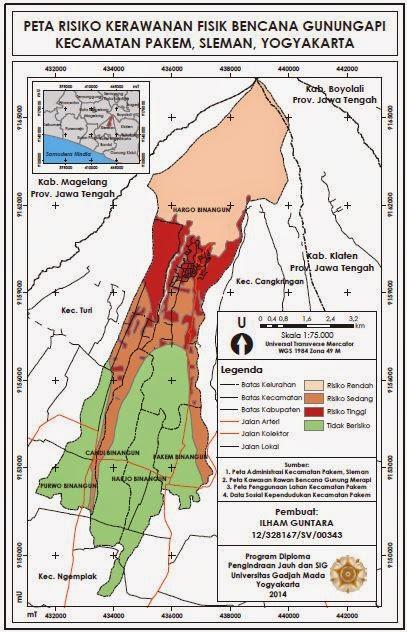 Peta Risiko Kerawanan Fisik Bencana Gunungapi www.guntara.com