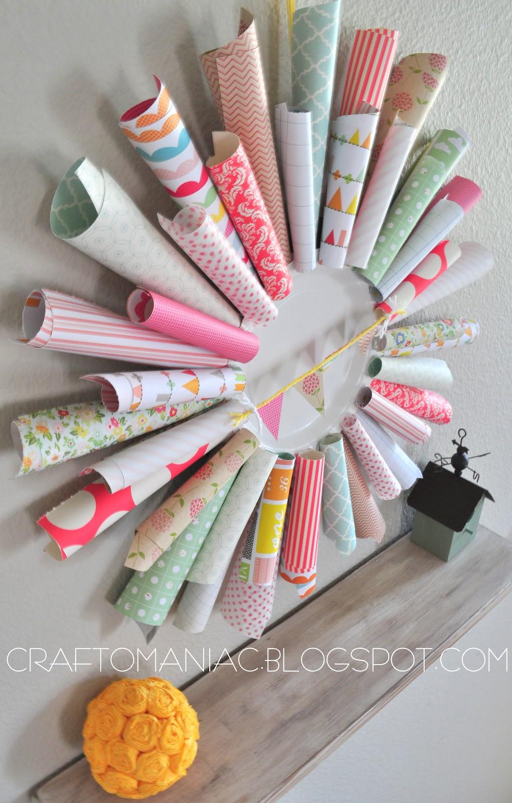 Pretty paper cone wreath craft o maniac for Cardboard cones for crafts