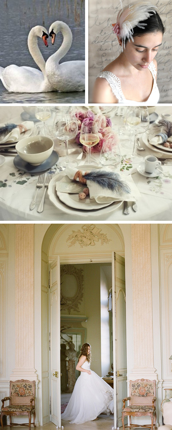 7 Swans a Swimming Wedding Inspiration Board Image Credits left to right