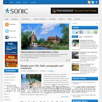 Sonic blog template. magazine blogger template style. magazine style template blogspot. 3 column blogspot template