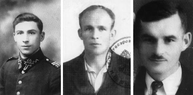 """Stanisław Piwowarczyk. ps. """"Muchomor"""". Józef Słowiński ps. """"Błysk"""". Ludwik Piwowarczyk (rozstrzelany w Baryczy 23 września 1943). Fot. zamieszczone w książce Marka Piwowarczyka, Kornica."""