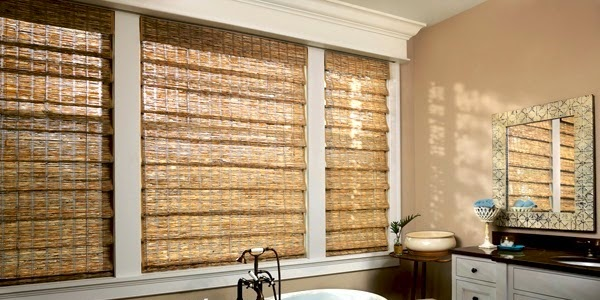 Bamboo curtains for window coverings in interior living room for Bamboo shades in living room