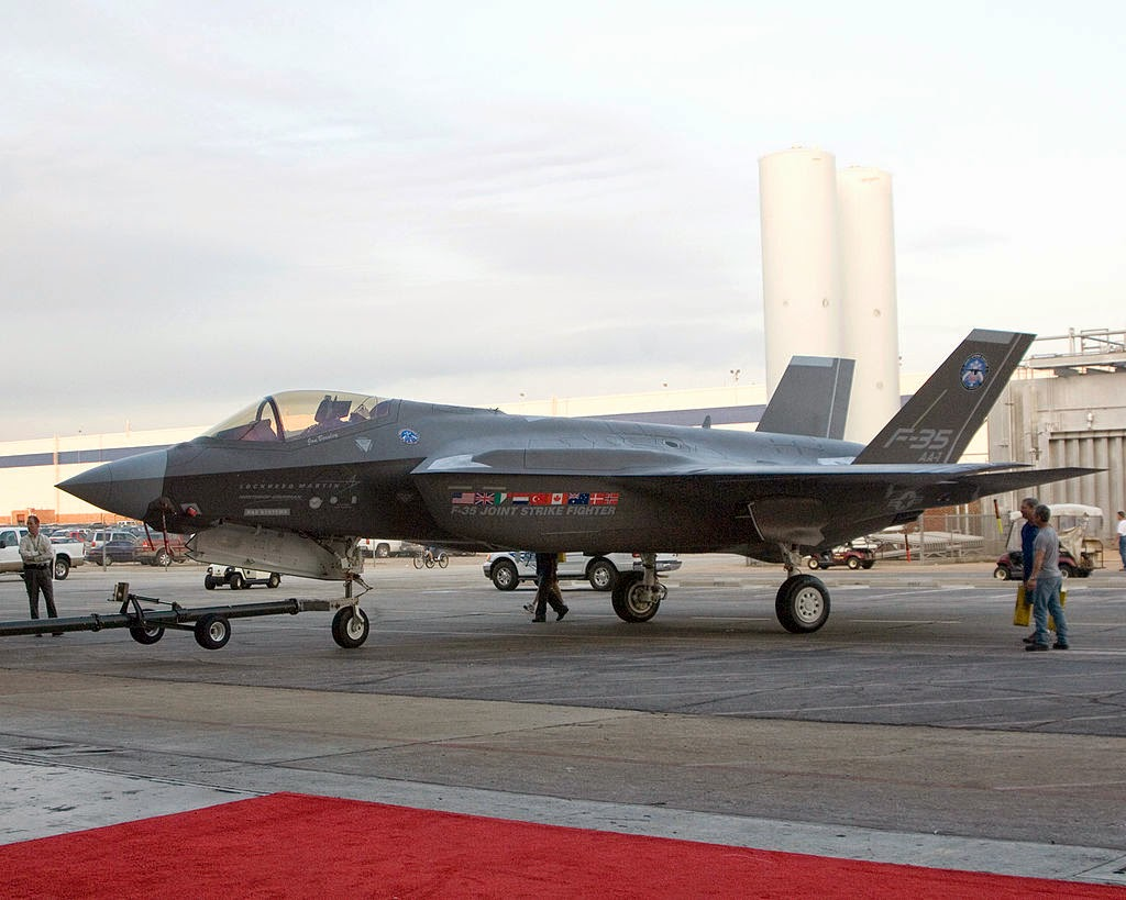 F-35A prototype being towed to its inauguration ceremony on 7 July 2006