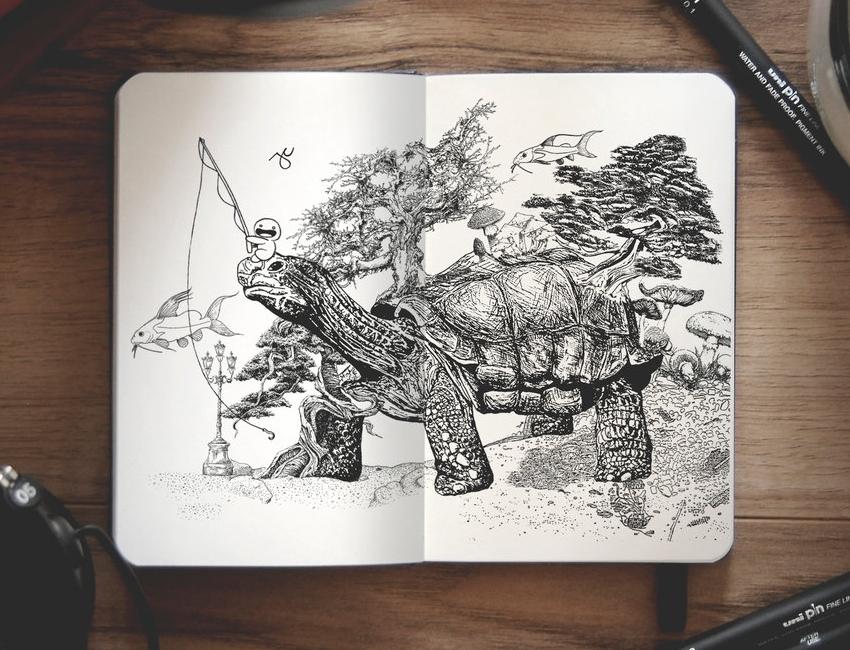 06-Dreams-Joseph-Catimbang-Pentasticarts-Metaphysical-and-Surreal-Doodle-Drawings-www-designstack-co