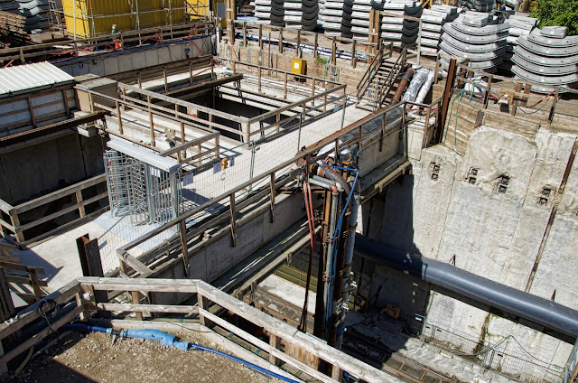 Baustelle Startschacht für die Tunnelbohrmaschine Baulogistikfläche für den Lückenschluss U5, Rathausstraße 19, 10178 Berlin, 16.04.2014