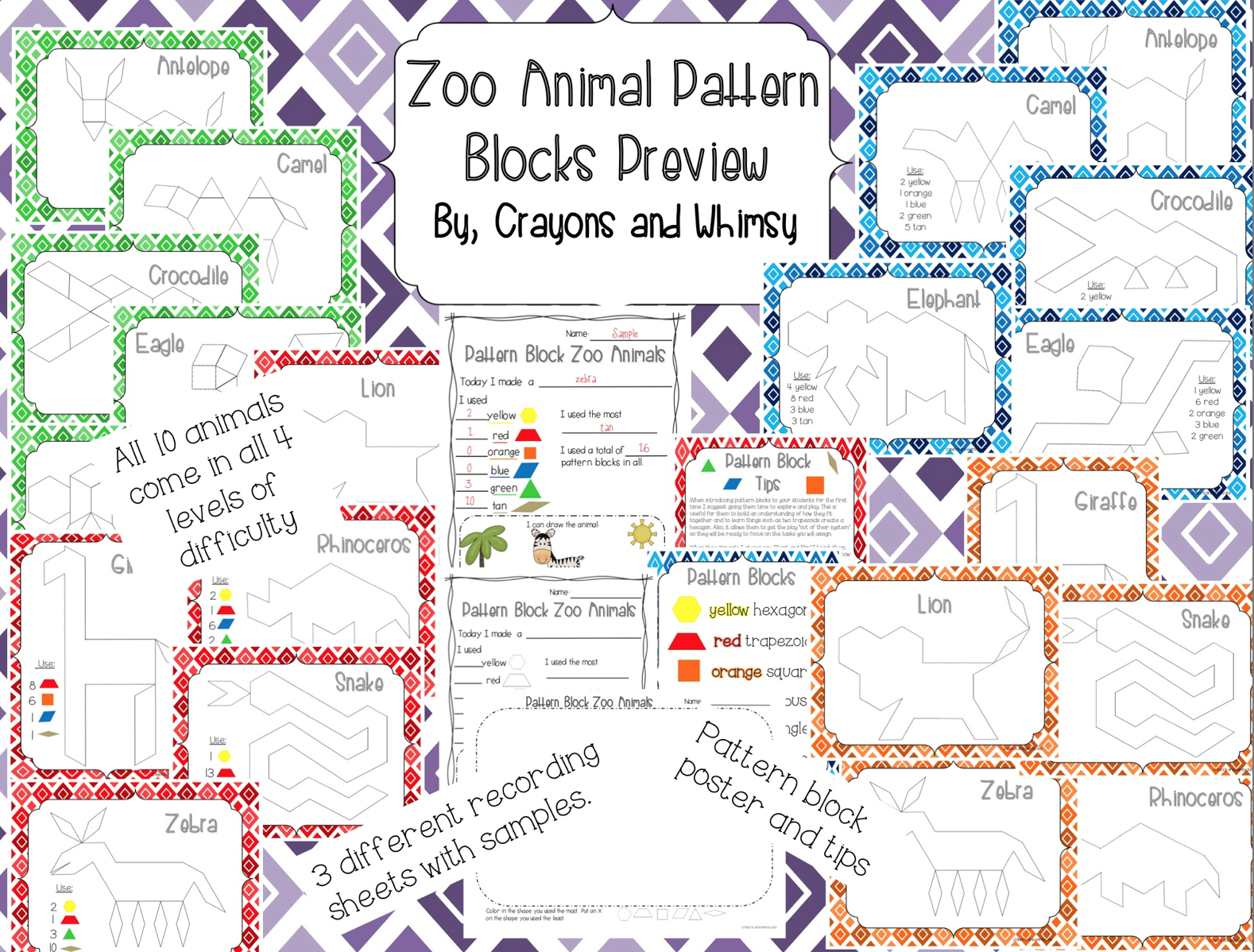 Zoo Animal Pattern Blocks Crayons and Whimsy math kindergarten
