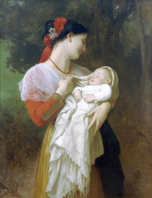 mother and baby,genre painting, art history