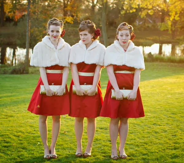 Red winter bridesmaid dresses pictures