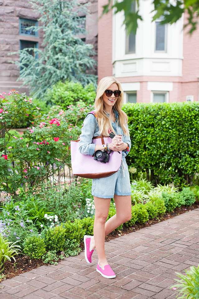 comfy romper and sneaker combo for vacation