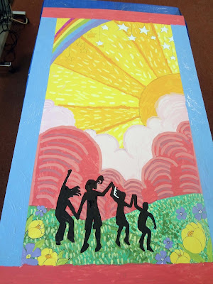 friendship mural, mural with kids, mixed media mural