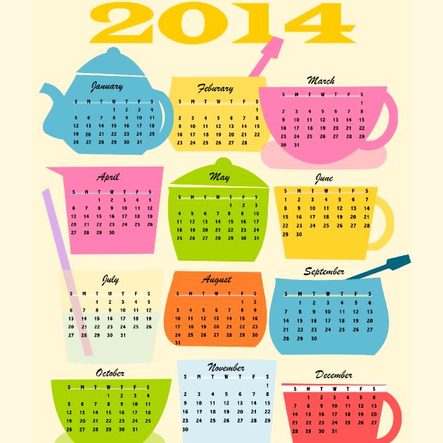 Free printable 2014 coffee break calendar - ausdruckbarer Kalender